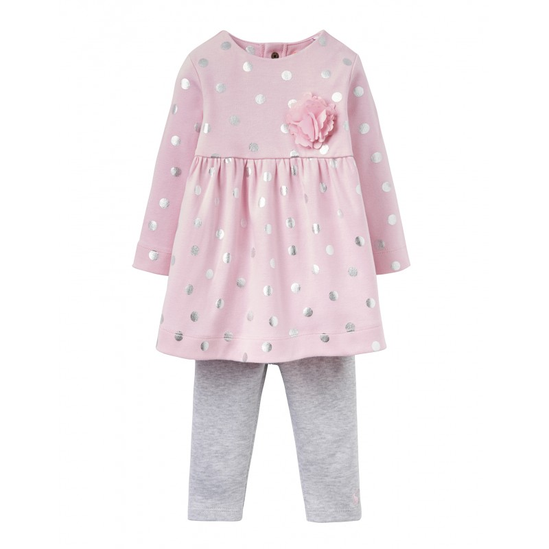 TOM JOULE rosa-gepunktetes Kleid- und Leggings Set CHRISTINA