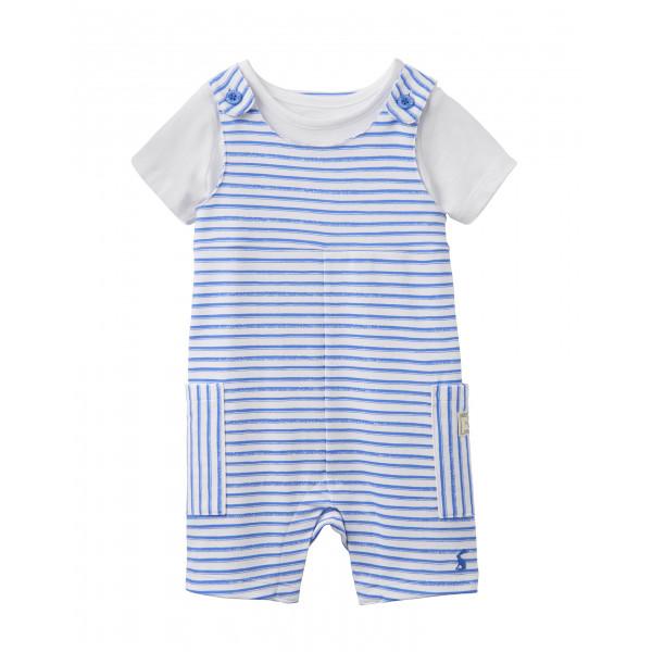 TOM JOULE blau-weiß-gestreiftes Jersey-Latzhose und T-Shirt Set DUNCAN