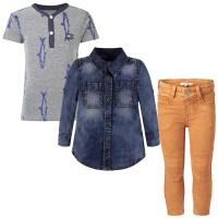Bubenoutfit Langarmhemd, T-Shirt und Jeans