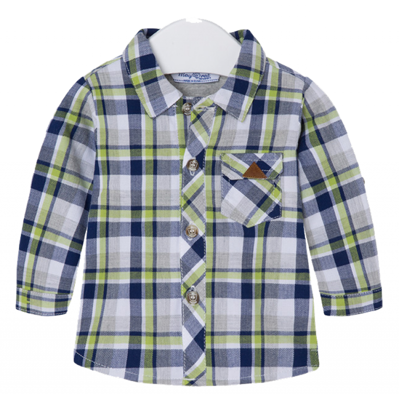 "MAYORAL Langarm-Hemd ""grün-blau kariert"""