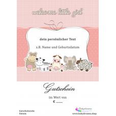 """Geschenkgutschein zur Geburt """"Mädchen"""""""