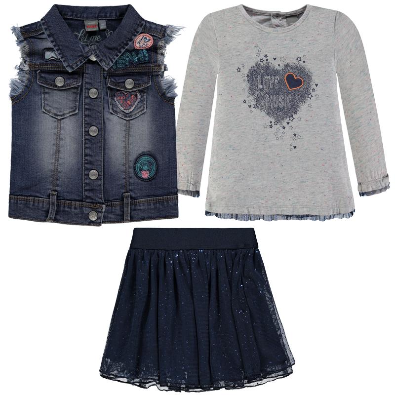 "KANZ Mädchenoutfit Langarmshirt, Rock und Jeansweste ""Let me Rock"""