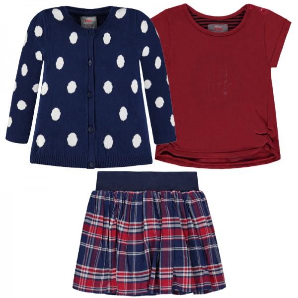 "KANZ Mädchenoutfit T-Shirt, Rock und Strickjacke ""Dots&Stripes"""