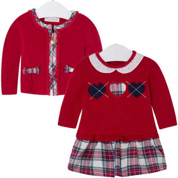 MAYORAL festliches Mädchenoutfit Kleid und Strickjacke