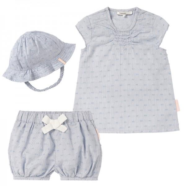 NOPPIES Mädchen Sommeroutfit Kleid, Shorts und Sonnenhut