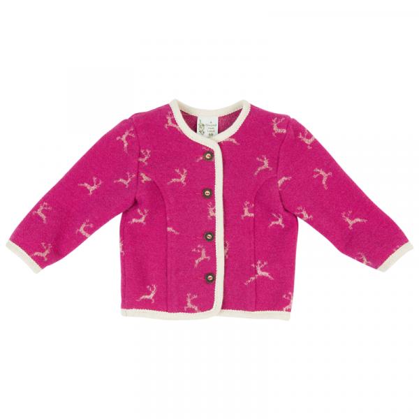 A GWOND VOM LAND rosa Mädchen Trachtenjacke mit Hirschmotiven