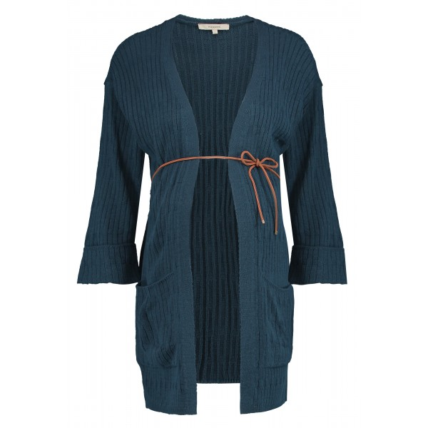 NOPPIES Umstands-Strickjacke Kimono mit braunem Lederband